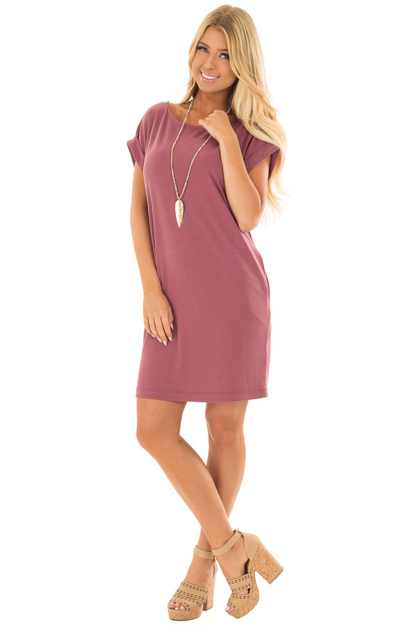 Washed Burgundy Short Sleeve Dress with Side Pockets front full body