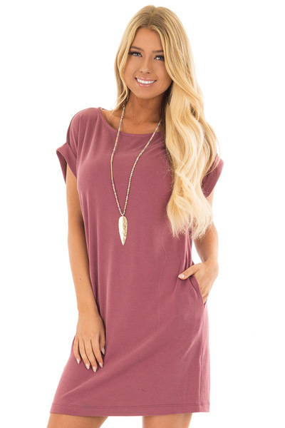 Washed Burgundy Short Sleeve Dress with Side Pockets front close up