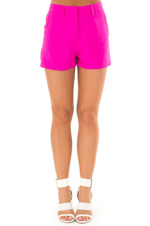 Magenta Woven Dress Shorts front view