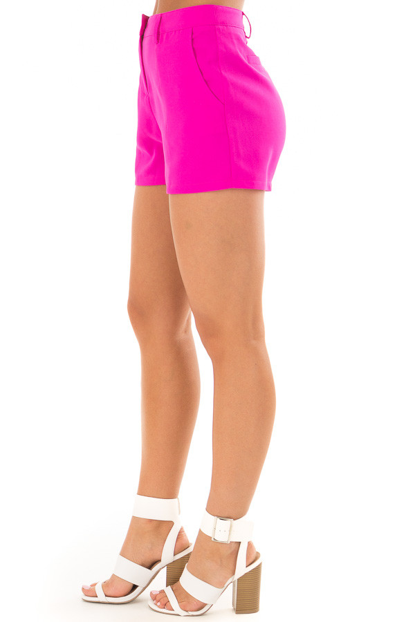 Magenta Woven Dress Shorts side view