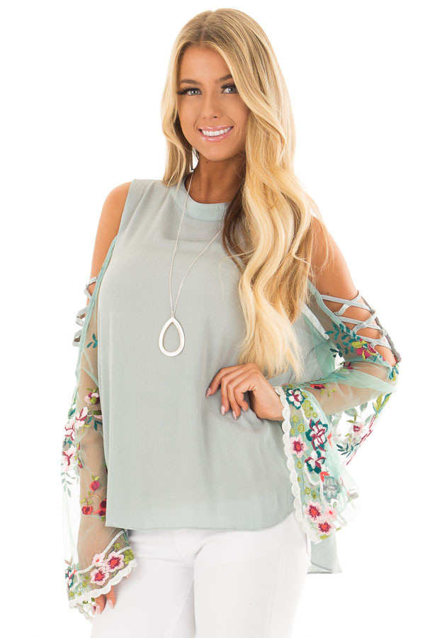 Dusty Blue Top with Sheer Floral Print Bell Sleeves front close up