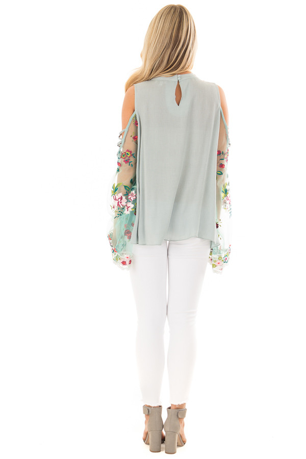 Dusty Blue Top with Sheer Floral Print Bell Sleeves back full body
