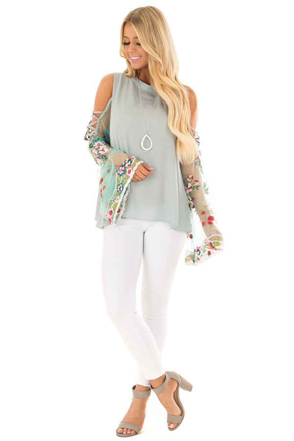Dusty Blue Top with Sheer Floral Print Bell Sleeves front full body