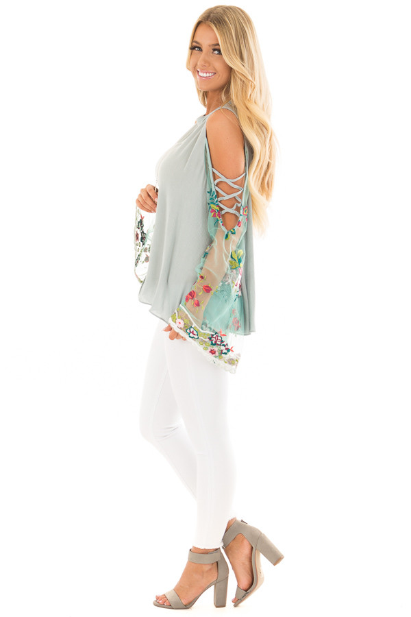 Dusty Blue Top with Sheer Floral Print Bell Sleeves side full body