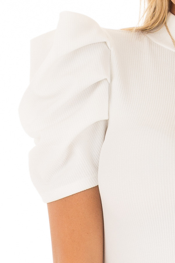 White Ribbed Bodysuit with Bubble Short Sleeves detail
