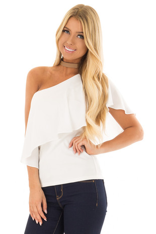 Off White One Shoulder Blouse with Overlay Detail front close up