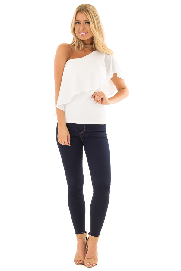 Off White One Shoulder Blouse with Overlay Detail front full body