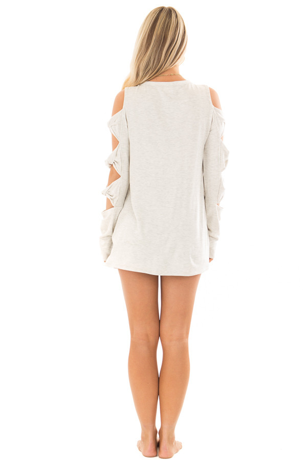 Soft Grey Cold Shoulder Top with Twisted Ladder Sleeves back full body