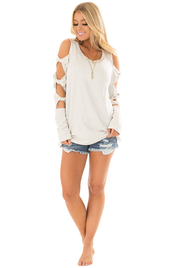 Soft Grey Cold Shoulder Top with Twisted Ladder Sleeves front full body