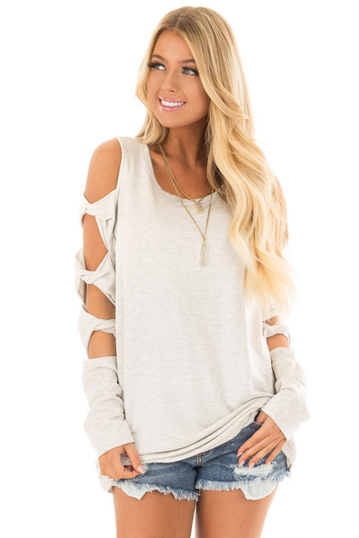 Soft Grey Cold Shoulder Top with Twisted Ladder Sleeves front close up