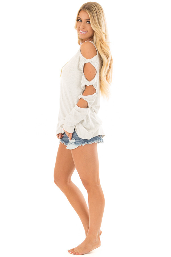 Soft Grey Cold Shoulder Top with Twisted Ladder Sleeves side full body