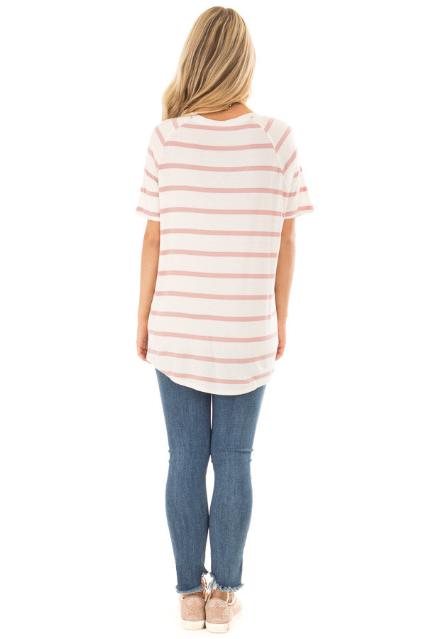 Mauve and Ivory Striped Comfy Fit V Neck Tee Shirt back full body