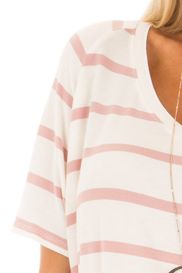 Mauve and Ivory Striped Comfy Fit V Neck Tee Shirt detail