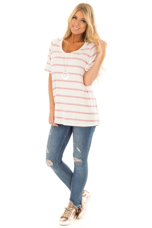 Mauve and Ivory Striped Comfy Fit V Neck Tee Shirt front full body