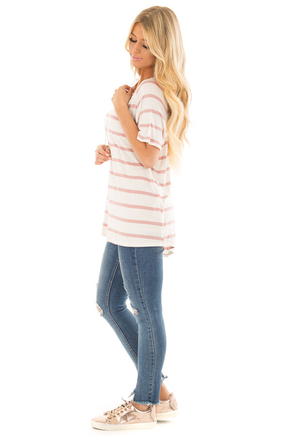 Mauve and Ivory Striped Comfy Fit V Neck Tee Shirt side full body