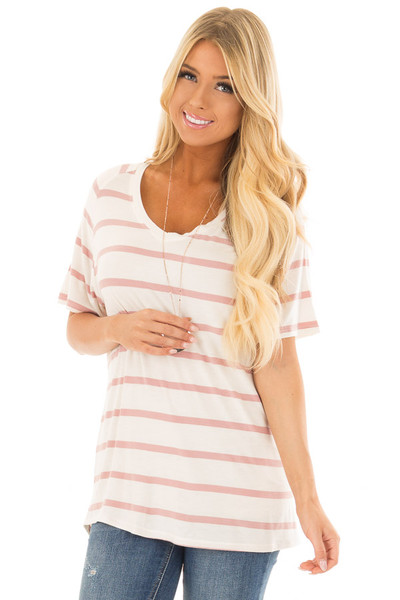 Mauve and Ivory Striped Comfy Fit V Neck Tee Shirt front close up