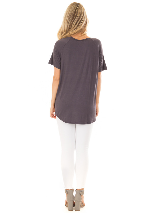 Charcoal Comfy Fit V Neck Tee Shirt back full body