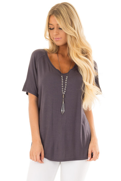 Charcoal Comfy Fit V Neck Tee Shirt front close up