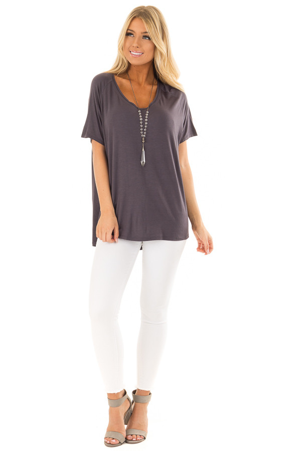 Charcoal Comfy Fit V Neck Tee Shirt front full body