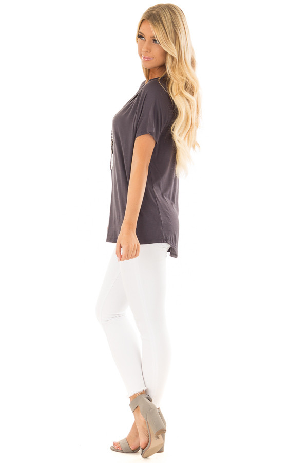 Charcoal Comfy Fit V Neck Tee Shirt side full body