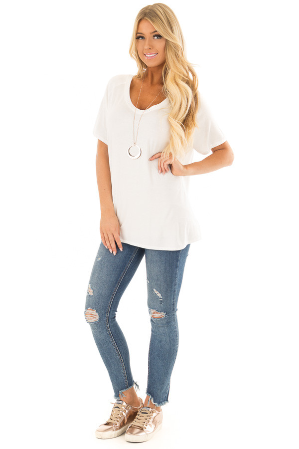Off White Comfy Fit V Neck Tee Shirt front full body