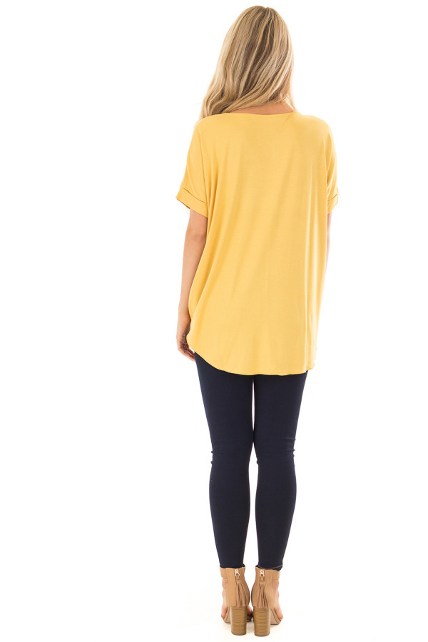 Mustard Crossover Drape Style Tee with Cuffed Sleeves back full body
