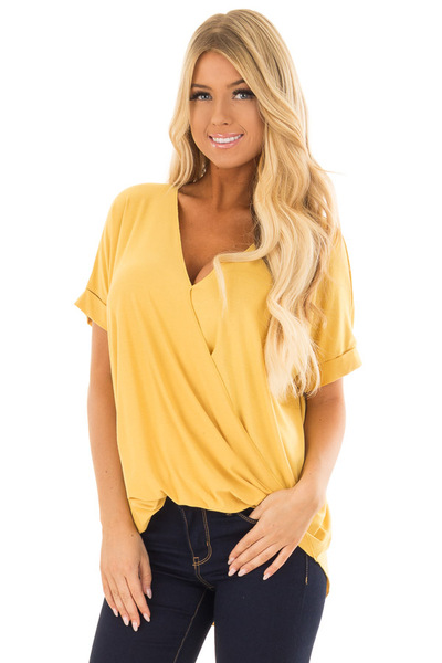 Mustard Crossover Drape Style Tee with Cuffed Sleeves front close up