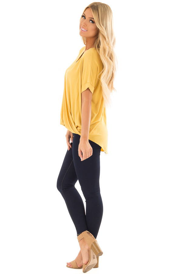 Mustard Crossover Drape Style Tee with Cuffed Sleeves side full body