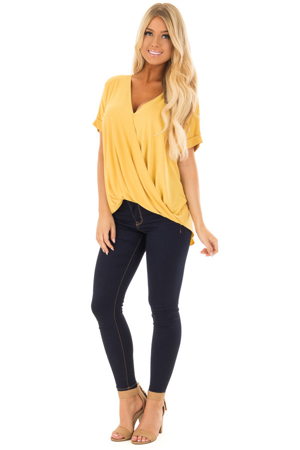 Mustard Crossover Drape Style Tee with Cuffed Sleeves front full body