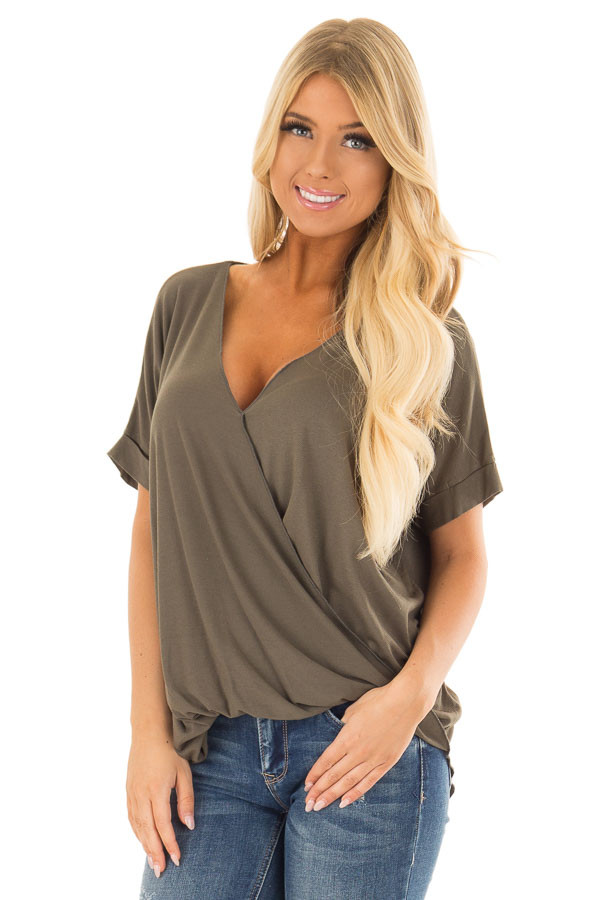 Olive Crossover Drape Style Tee with Cuffed Sleeves front close up