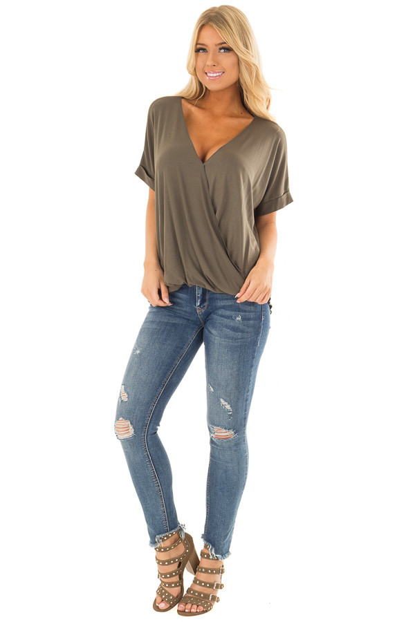 Olive Crossover Drape Style Tee with Cuffed Sleeves front full body