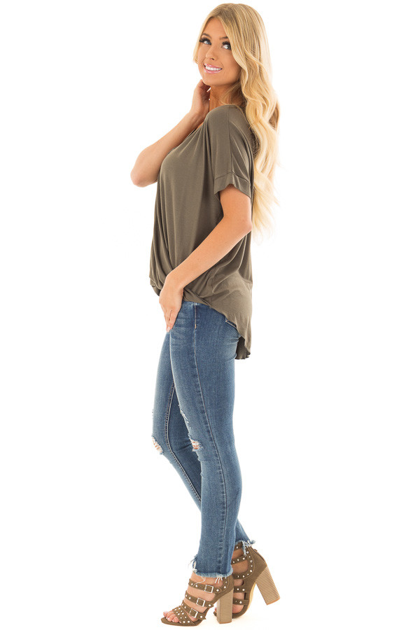Olive Crossover Drape Style Tee with Cuffed Sleeves side full body