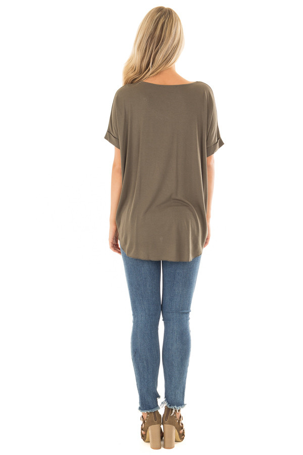 Olive Crossover Drape Style Tee with Cuffed Sleeves back full body