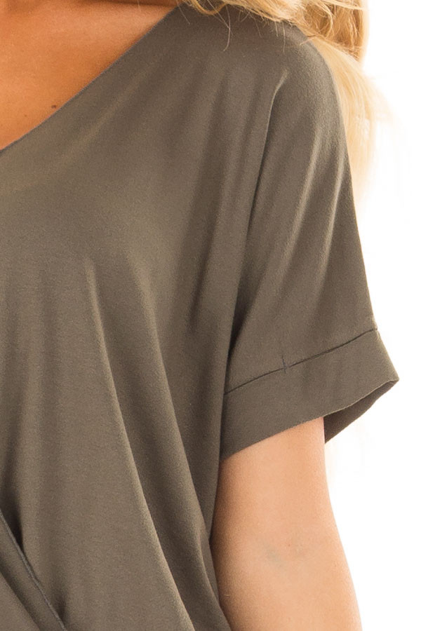 Olive Crossover Drape Style Tee with Cuffed Sleeves detail