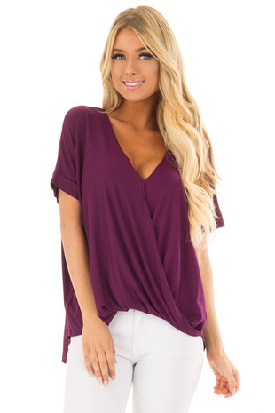 Deep Purple Crossover Drape Style Tee with Cuffed Sleeves front close up
