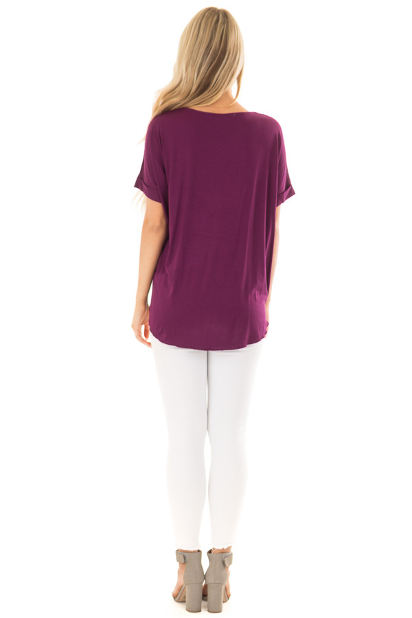 Deep Purple Crossover Drape Style Tee with Cuffed Sleeves back full body