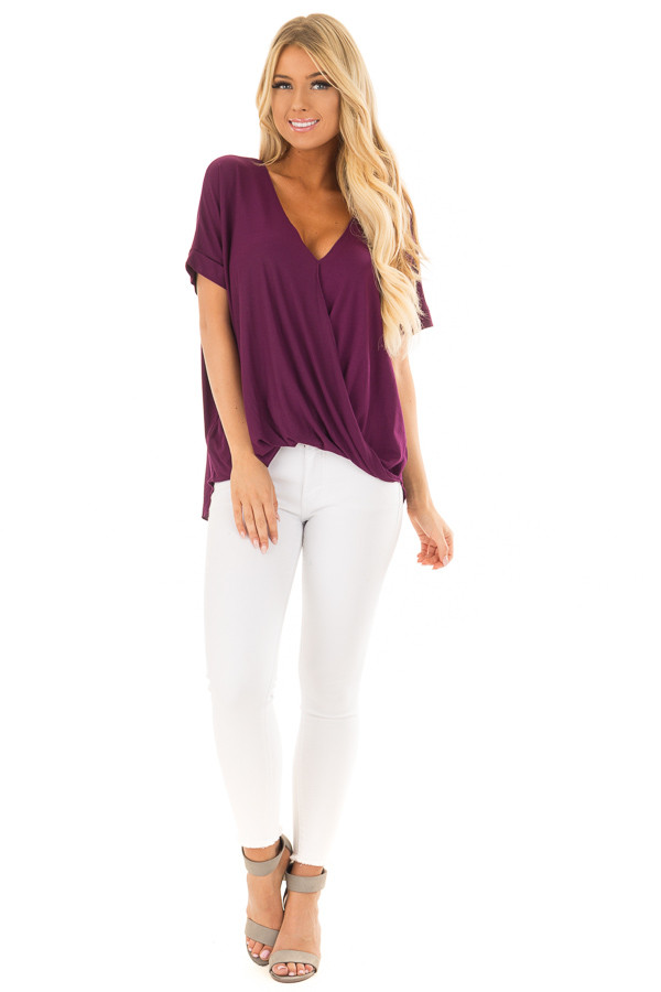 Deep Purple Crossover Drape Style Tee with Cuffed Sleeves front full body