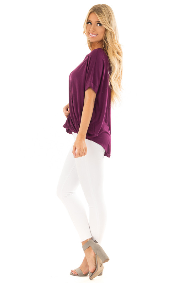 Deep Purple Crossover Drape Style Tee with Cuffed Sleeves side full body