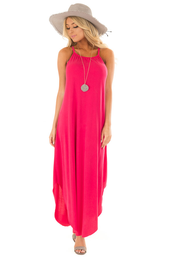 Raspberry Pink Tank Top Maxi Dress with Rounded Hem front full body