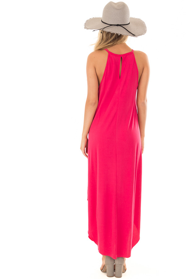 Raspberry Pink Tank Top Maxi Dress with Rounded Hem back full body