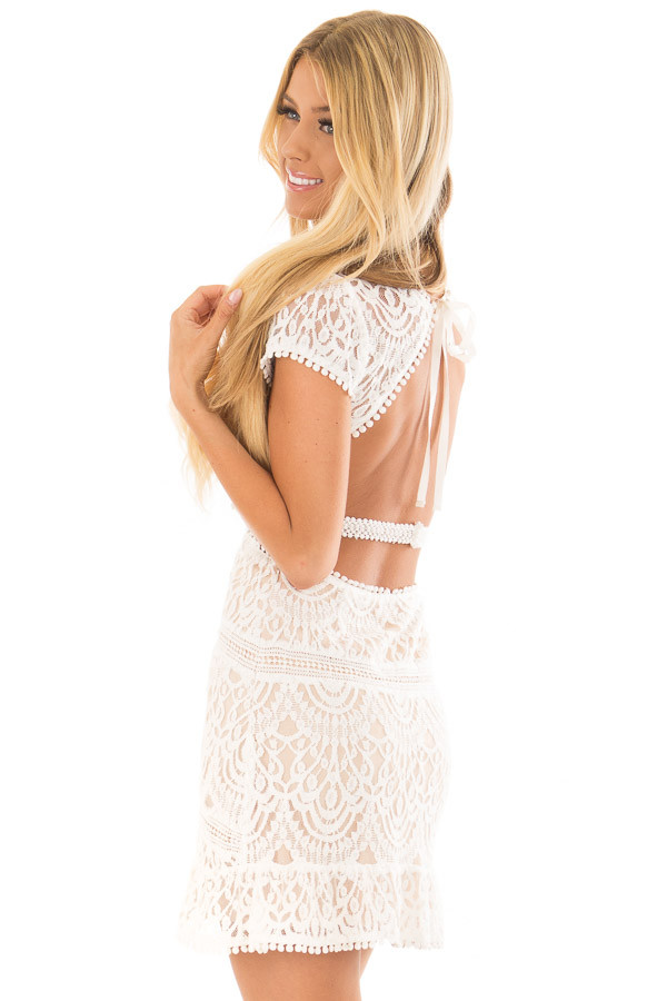 White Lace Detail Open Back Mini Dress back side close up