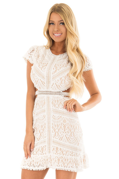 White Lace Detail Open Back Mini Dress front close up