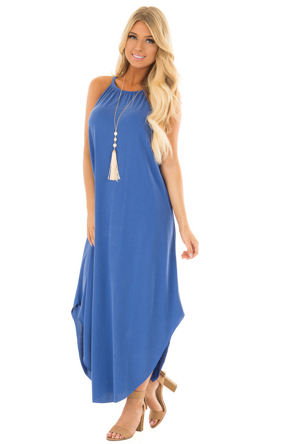 Snorkel Blue Tank Top Maxi Dress with Rounded Hem front full body