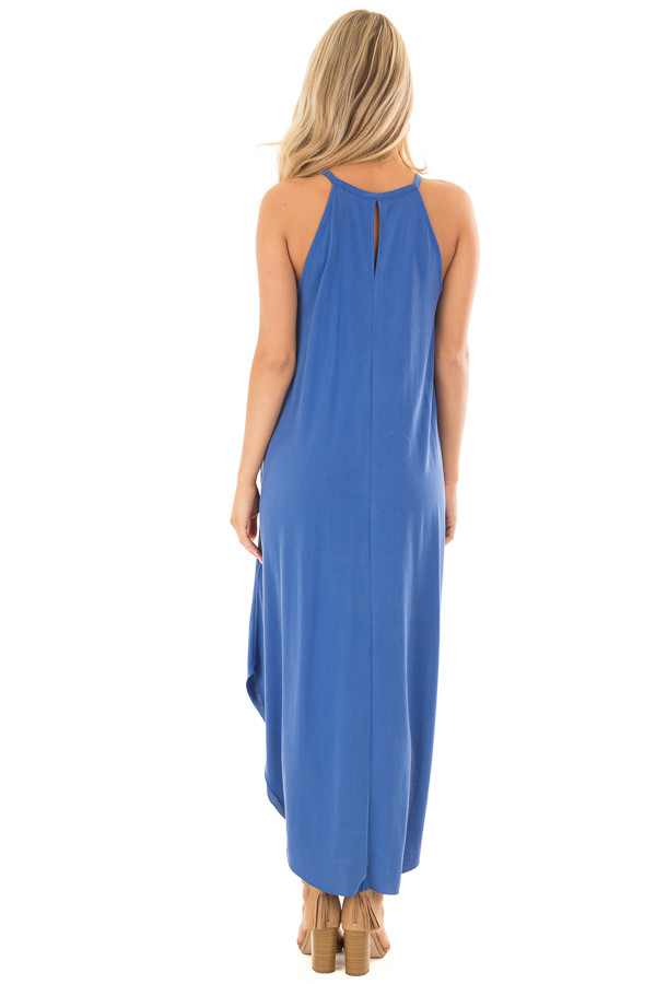 Snorkel Blue Tank Top Maxi Dress with Rounded Hem back full body