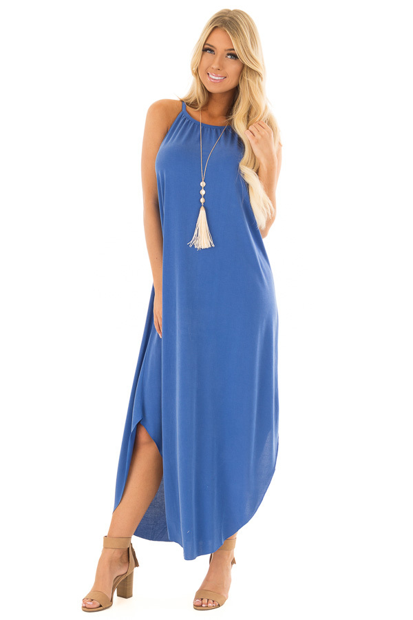 Snorkel Blue Tank Top Maxi Dress with Rounded Hem front close up
