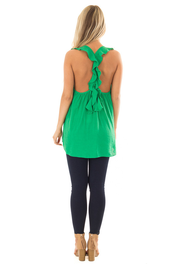 Kelly Green Flowy Tank Top with Ruffled Straps back full body