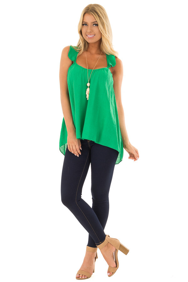 Kelly Green Flowy Tank Top with Ruffled Straps front full body