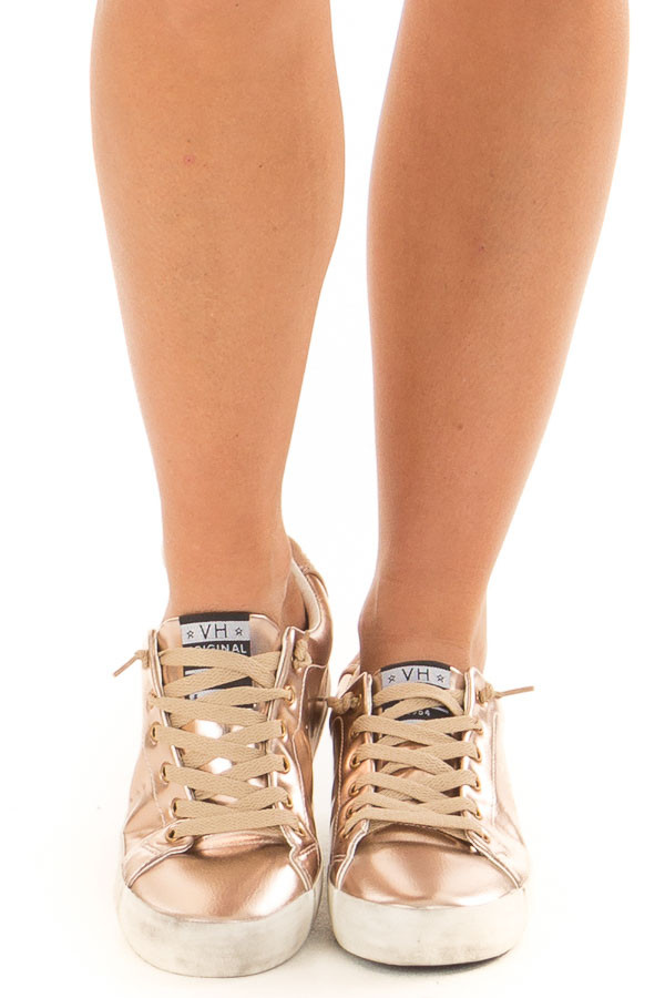 Rose Gold Metallic Sneakers with Rhinestone Star Heel front view