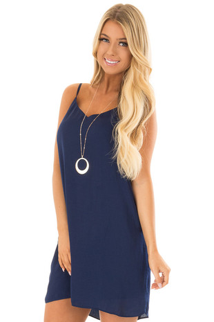 Navy Spaghetti Strap Tie Back Slip Dress front close up