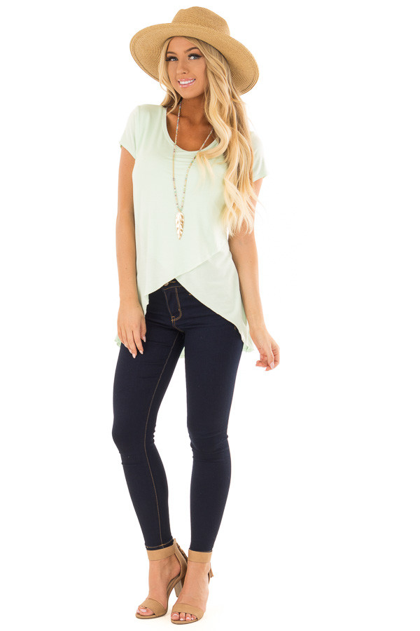 Green Mint Tee Shirt with Layered Crossover Hemline front full body